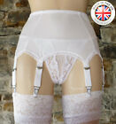 8 Strap Luxury Suspender Belt WHITE (Garter Belt) UK Manufactured NYLONZ