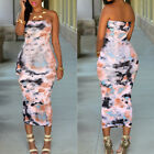 Women Evening Clubwear Sexy Strapless Bandage Bodycon Midi Dress Party Floral