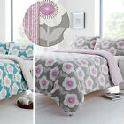 Daisy Floral Duvet Cover - Contemporary Reversible Stripe Poly Cotton Bed Set