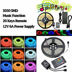 5-50M Waterproof RGB LED Strip Rope Lights Music Color Changing 12V Power Supply