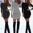 Ladies Long Sleeve Bodycon Bandage Sexy Short Mini Dress Women Tops Tee Pullover