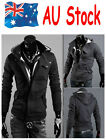 AU Shipping Mens Hooded Jacket Sweatshirt Slim Stand Collar Casual Outwear Coat