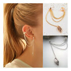 S Women Girl Stylish Punk Rock Leaf Chain Tassel Dangle Ear Cuff Wrap Earring