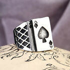316L Titanium Steel High Quality Mens Womens Poker Ace of spades Ring Sz 7-13