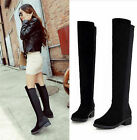 NEW LADIES WOMENS OVER THE KNEE HIGH BOOTS FAUX SUEDE STRETCH BLACK SHOES SIZES