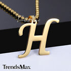 """Gold Stainless Steel Necklace Chain A-Z 26 Initial Letter Pendant Men Women 22"""""""