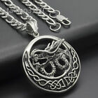 """Stainelss Steel Chinese Dragon Pendant 7mm Figaro Chain Necklace Set 18-40"""" 380"""