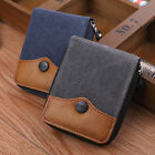 Blend Color Sports Canvas Clutch Checkbook Change Coin Card Bag Men Purse Wallet