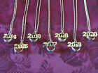 Graduation School Color Birthstone Necklace Chain W Mini Ring & Year Charm 18""