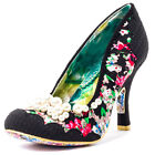 Irregular Choice Pearly Girly Womens Fabric Black Floral Heels