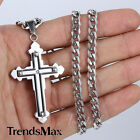 Boy Men Chain Black Silver Cross Stainless Steel PENDANT NECKLACE  5mm Curb Link