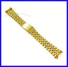 18mm 19mm 20mm Stainless Steel IPG Gold Tone Curved Jubilee Watch Band Bracelet