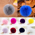 Lovely Womens Genuine Rabbit Fur Ball PomPom Car Keychain Handbag Charm Key Ring