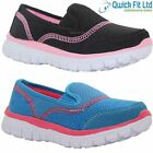 NEW GIRLS SLIP ON SPORTS TRAINERS LADIES BLACK COMFORT SHOES LIGHT WEIGHT SOLE