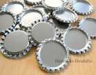 "1"" FLAT Standard Size Chrome Silver Linerless Bottle Caps No Liners Flattened"