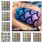 Laser Nail Vinyls Nail Art  Stencil Sticker Decal Holo Irregular Image
