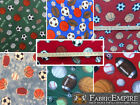 """Polar Fleece Printed Fabric SPORTS BALL 60"""" Wide Sold By the Yard"""