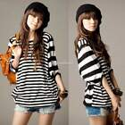 Women Korean Half Sleeve Stripe Print Batwing Loose Basic T-Shirt Blouse Tops SH