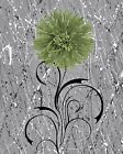 Green Gray Floral Modern Bathroom/Bedroom Wall Art Decor Matted Picture