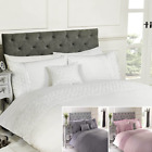 Raised Rose Quilt Duvet Cover & Pillowcase Bedding Bed Set Floral 3 Colours New