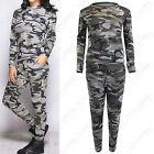 NEW WOMENS CAMOUFLAGE TRACKSUIT LOUNGEWEAR ARMY LOOK SUIT SWEATSHIRT TOP BOTTOMS