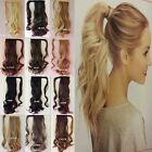 Clip In Hair Extensions Deluxe Thick Ponytail Wrap Around Pony Tail Brown Blonde