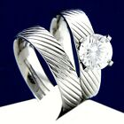 2 PC 2.04 CT CZ Women's Engagement Stainless Steel Wedding Bridal Band Ring Set