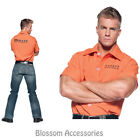 CL701 Mens Jail Shirt T-Shirt Convict Prisoner Costume Halloween Party Outfit