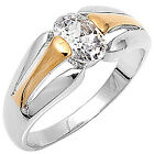 Sterling Silver Gold Plated Solitaire Clear CZ Sideways Wedding Ring Size 3-11