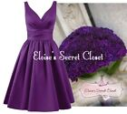 BRIDGET Purple 50's Satin Bridesmaid Wedding Knee Length Dress UK Sizes 6 -18