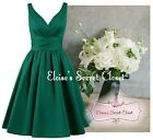 BRIDGET Emerald 50's Satin Bridesmaid Wedding Knee Length Dress UK Sizes 6 -18