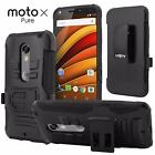 Ultra Rugged Hybrid Case TPU Kickstand Beltclip Holster For Moto X Pure Edition