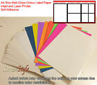 A4 Self-Adhesive Sticker Paper Sheet Address Label White Red Orange Green Pink