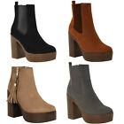 WOMENS LADIES CHELSEA ANKLE BOOTS MID HIGH BLOCK HEELS PLATFORMS SHOES SIZE