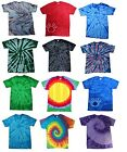 Multi-Color Tie Dye T-Shirts  Kids & Adult Hand dyed Short Sleeve Cotton Gildan