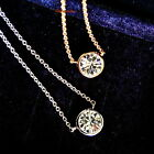 White Gold Fill Clear Swarovski Crystal Women Single Round Diamond Necklace N175