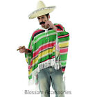 CSW25 Mexican Poncho Yellow Green Men Fancy Dress Costume Wild West Amigo Cowboy
