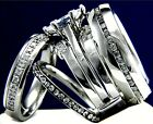 4 PCS Solitaire CZ Stainless Steel Women Engagement Mens Wedding Bridal Ring Set