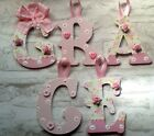 SHABBY CHIC 10CM PERSONALISED WOODEN LETTER CHRISTENING/NEW BABY GIFT