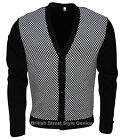 2 TONE Checked Cardigan - Black / White Check - Mod, Indie, Ska, Skin 60s 80s