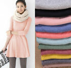 Femme Hiver Manches Longues Mini-robe Pull Knitted Dress Pullover Sweater Doux