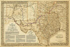 1876 Great Texas and Southwestern Cattle Trails Map 2nd Edition - in 3 Sizes