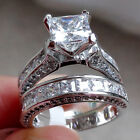 Princess White CZ 925 Sterling Silver Wedding Band Engagement Ring Set Size 5-10 фото