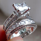 Princess White Cz 925 Sterling Silver Wedding Band Engagement Ring Sets Sz 5-10