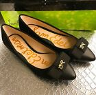 Sam Edelman Lizzy Black Suede Pointy Toe Bow Flats Shoes Ballerina Slip Ons