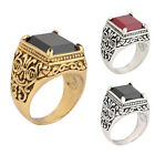 New Style Fashion Men Large Ring Square Black Red Resin Stone Carved Ring