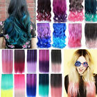 Women Rainbow Fading Color Hair Extensions Curly Straight Clip in Hair Extension
