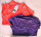 Adidas Purple & Orange Sheer Mesh Line Back Short Sleeve Fitness Tops L NWT