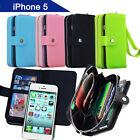 Leather Magnet  Coins Case for iPhone 5 5S Wallet Cover Heavy Duty Tough