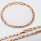 4MM Women Men Chain Snail Link Rose Gold Filled GF Bracelet Necklace Jewelry SET